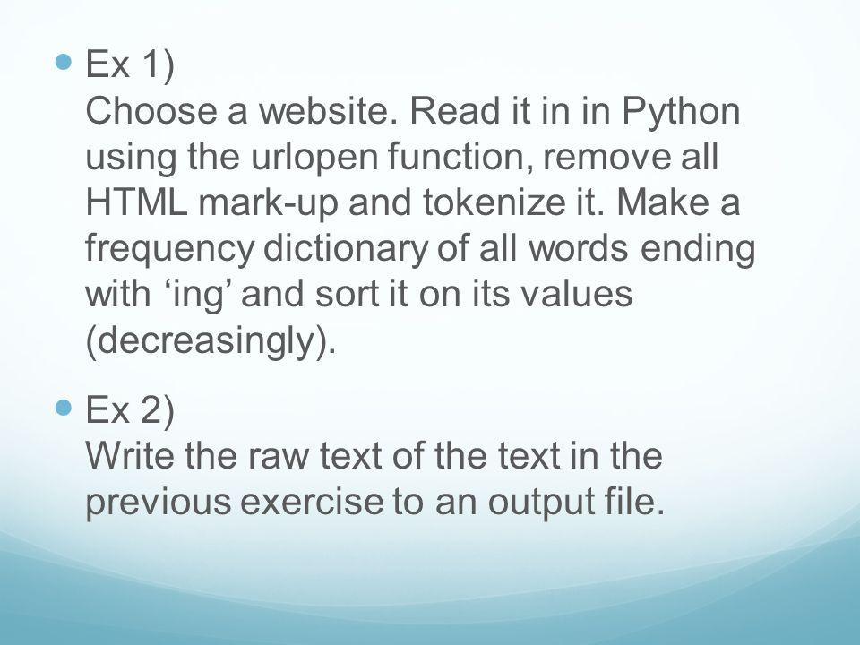 Ex 1) Choose a website.