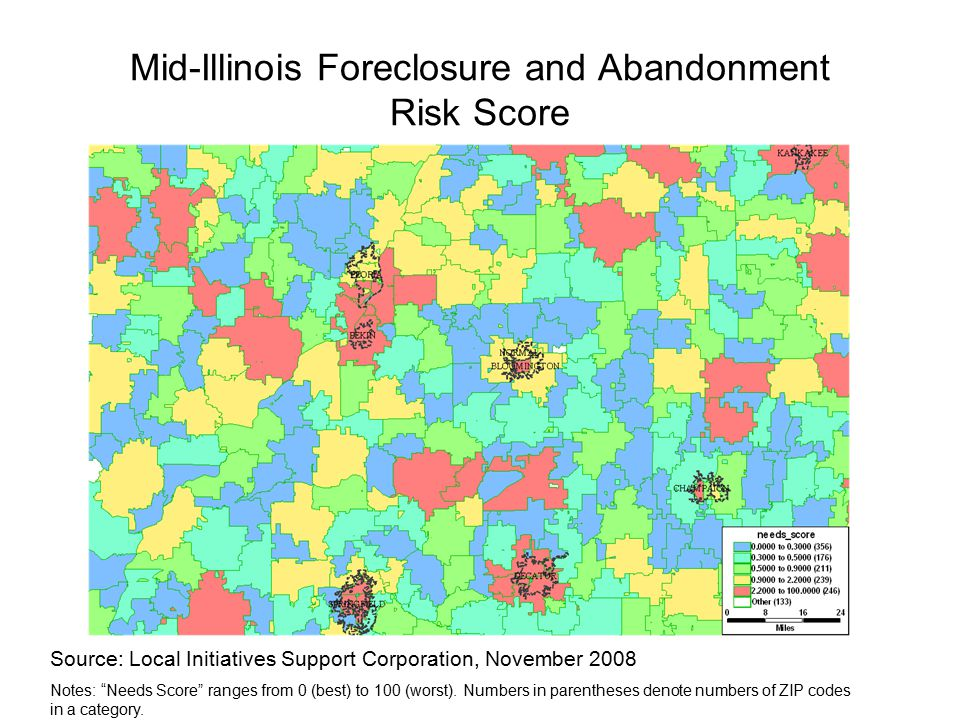 Mid-Illinois Foreclosure and Abandonment Risk Score Source: Local Initiatives Support Corporation, November 2008 Notes: Needs Score ranges from 0 (best) to 100 (worst).