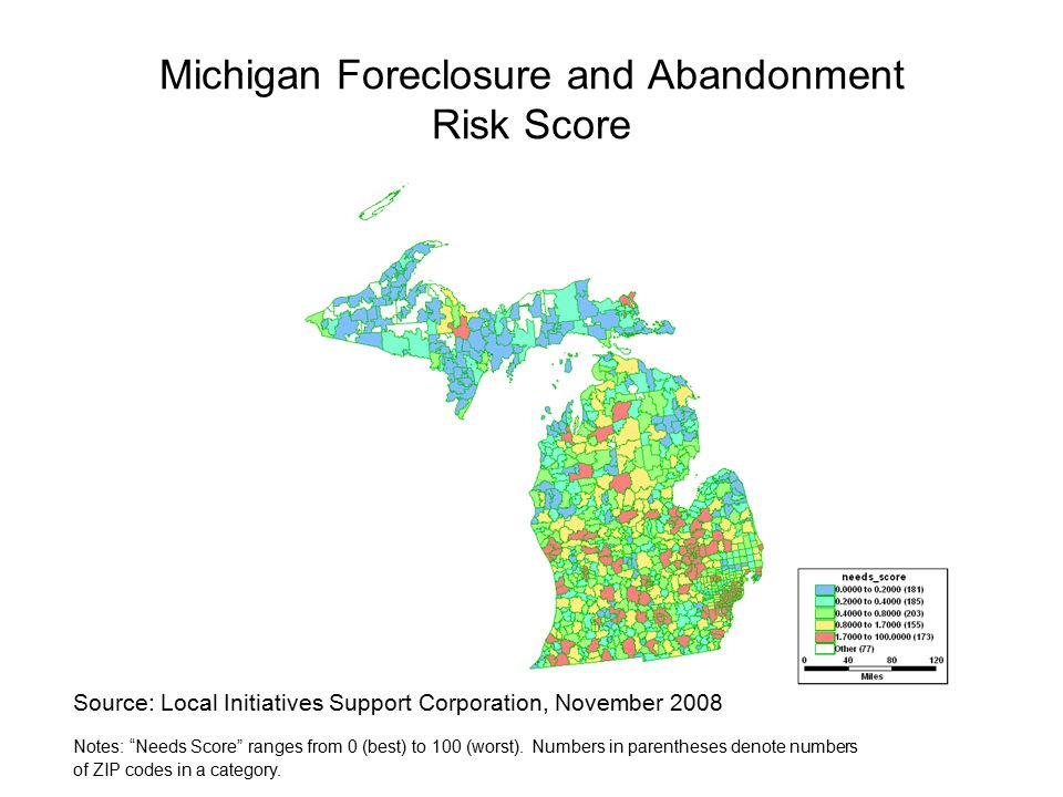 Michigan Foreclosure and Abandonment Risk Score Source: Local Initiatives Support Corporation, November 2008 Notes: Needs Score ranges from 0 (best) to 100 (worst).