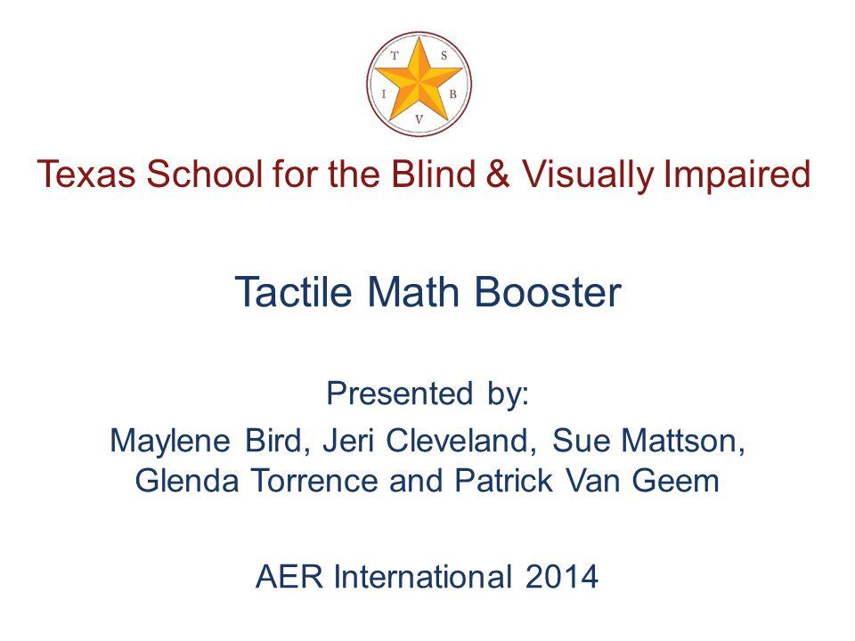 Texas School for the Blind & Visually Impaired Refresh Your Nemeth Braille Code Maylene Bird, TVI and COMs Glenda Torrence, TVI