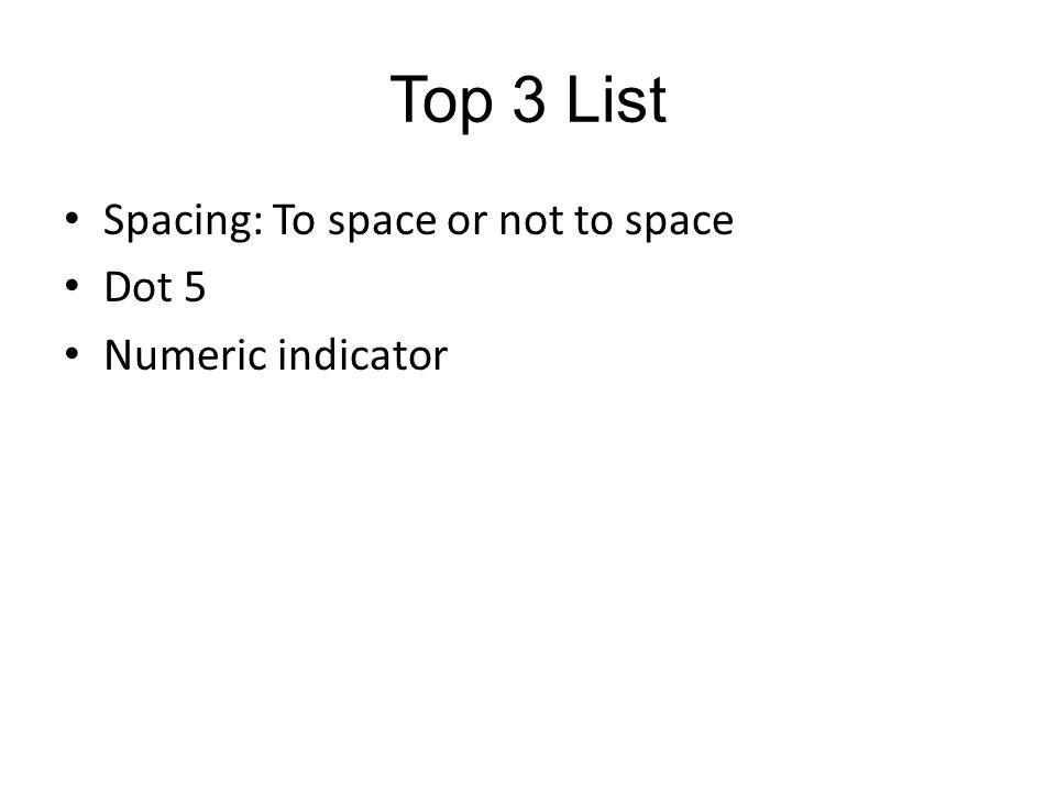 The Numeric Indicator The last of the big three.