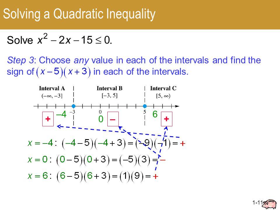 1-11 Solving a Quadratic Inequality Solve.