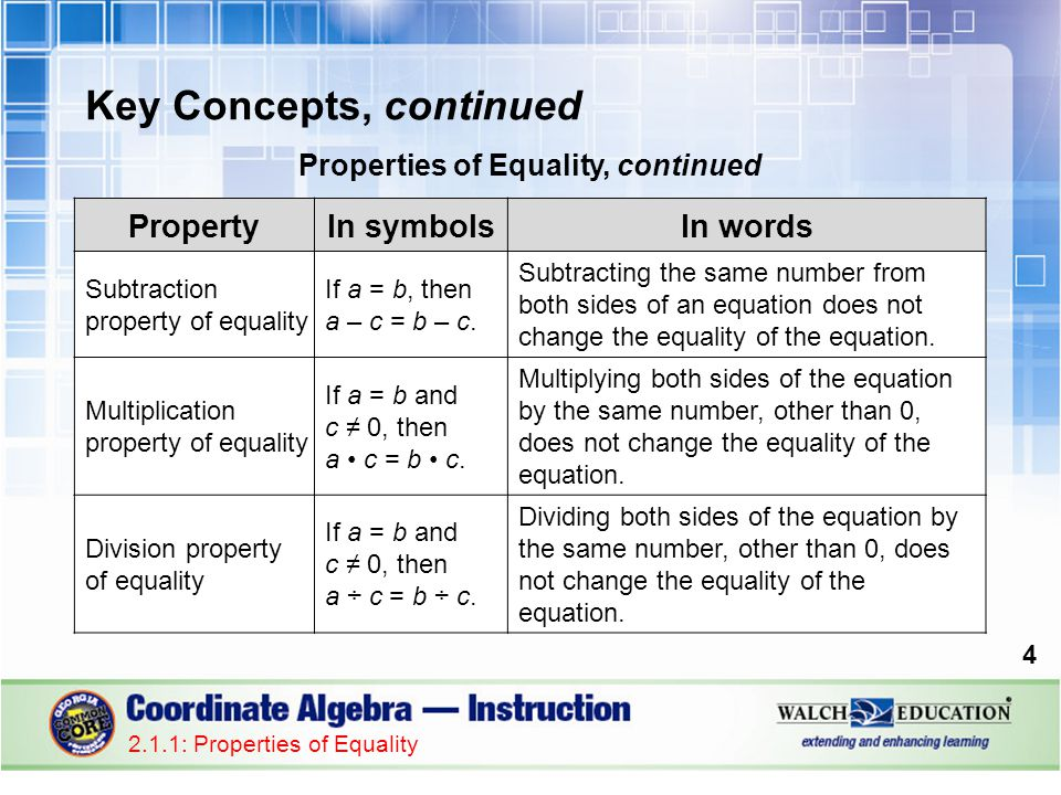 Key Concepts, continued Properties of Equality, continued 4 2.1.1: Properties of Equality PropertyIn symbolsIn words Subtraction property of equality