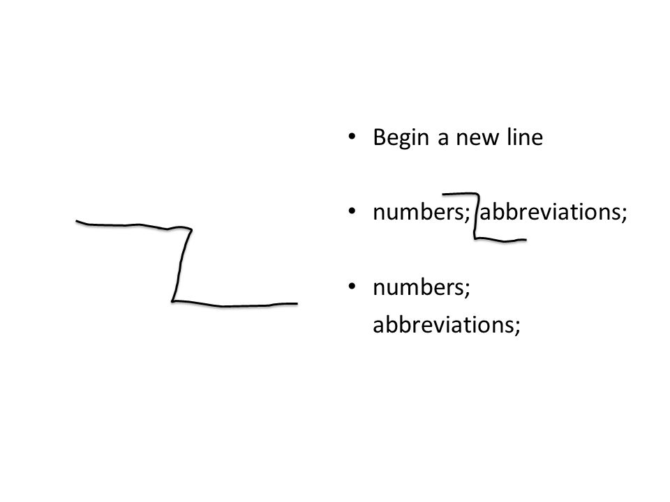 Begin a new line numbers; abbreviations; numbers; abbreviations;