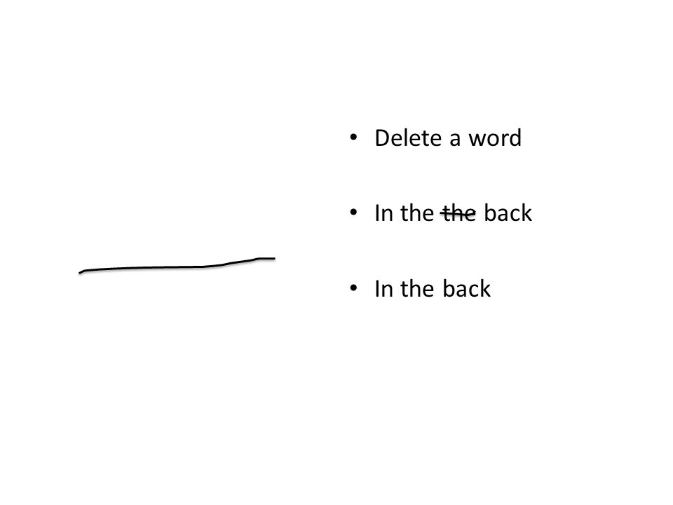 Delete a word In the the back In the back
