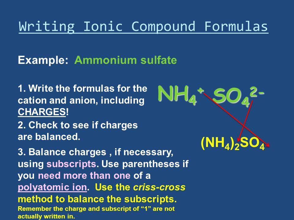 Writing Ionic Compound Formulas Example: Ammonium sulfate 1.
