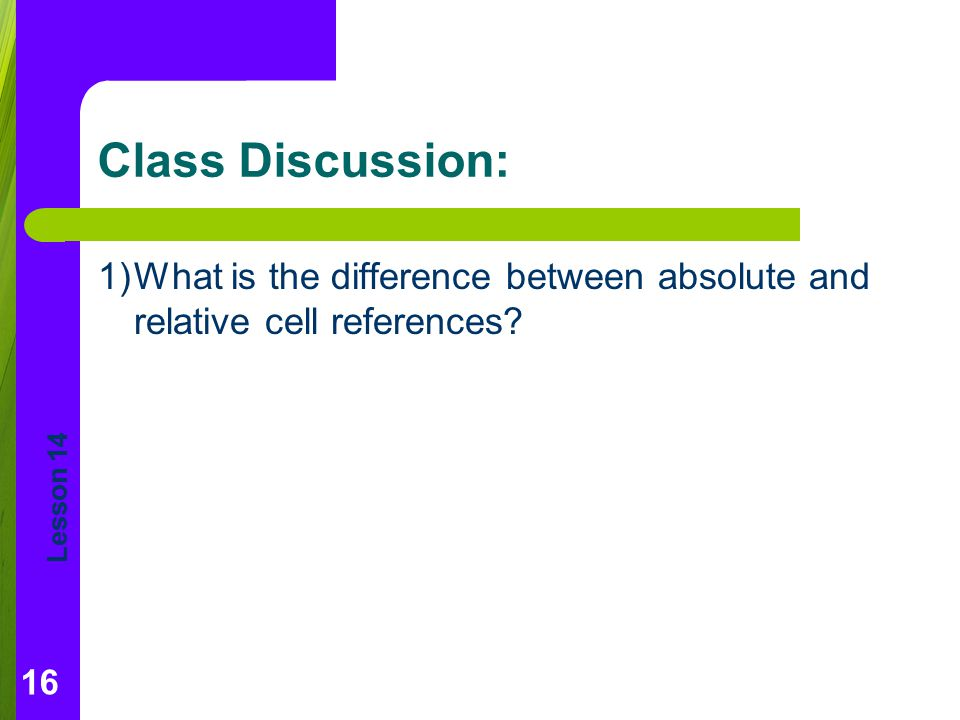 Lesson 14 Class Discussion: 1)What is the difference between absolute and relative cell references.