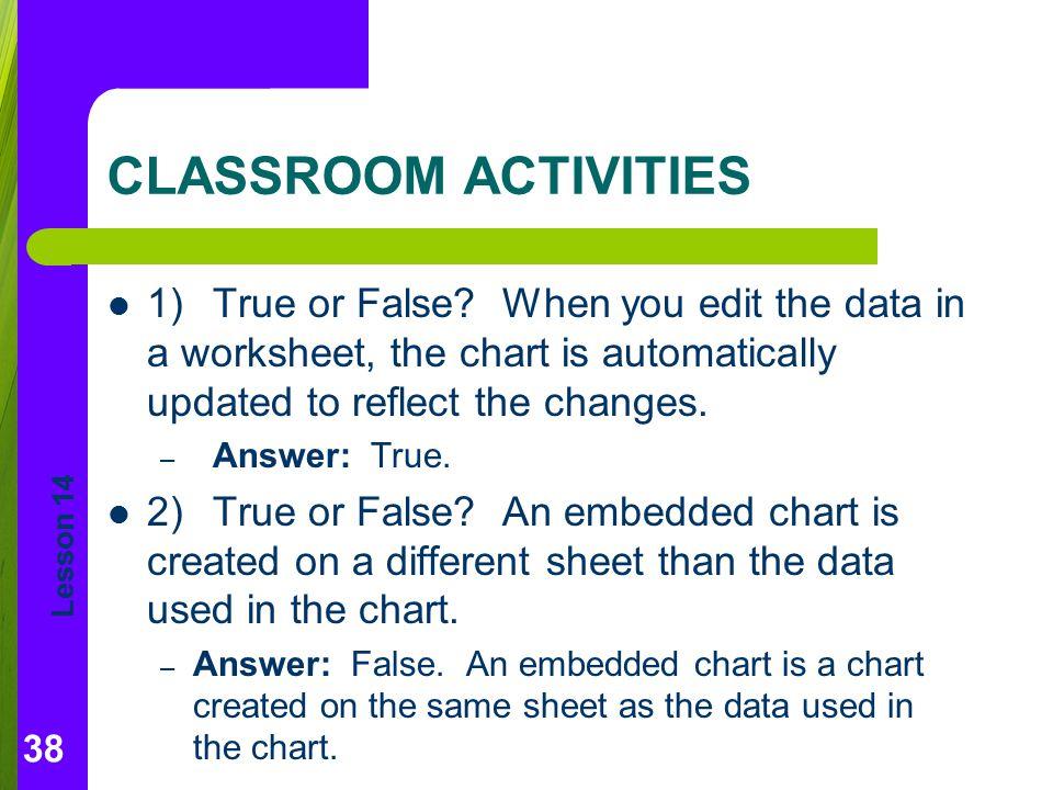 Lesson 14 CLASSROOM ACTIVITIES 1)True or False.