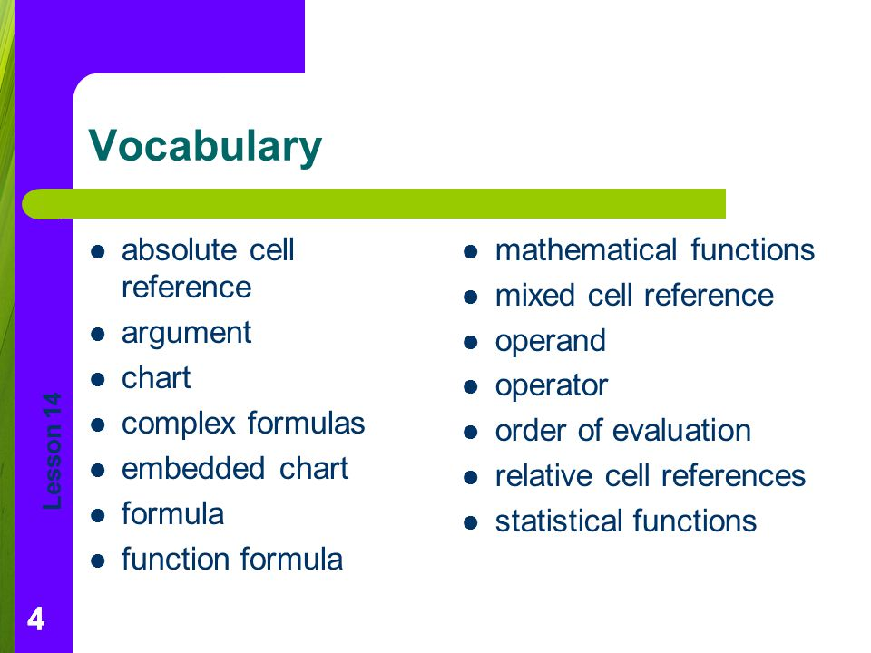 Lesson 14 444 Vocabulary absolute cell reference argument chart complex formulas embedded chart formula function formula mathematical functions mixed