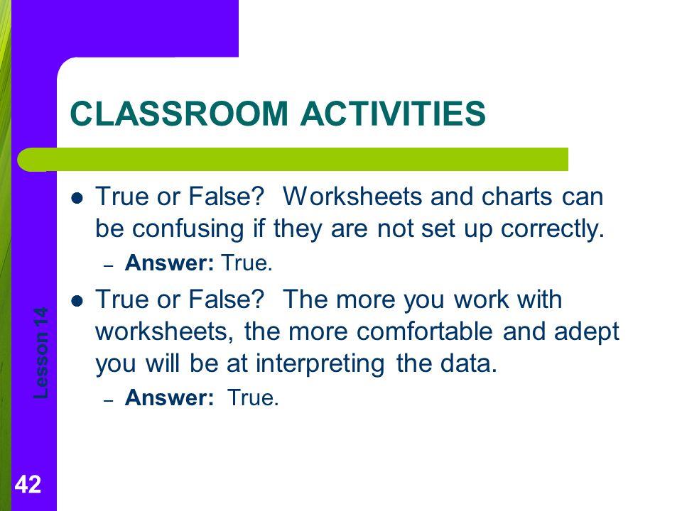 Lesson 14 CLASSROOM ACTIVITIES True or False.