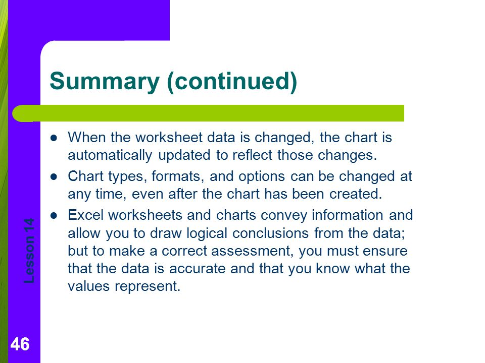 Lesson 14 46 Summary (continued) When the worksheet data is changed, the chart is automatically updated to reflect those changes. Chart types, formats