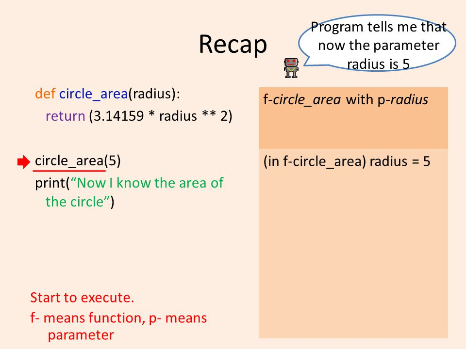 Recap def circle_area(radius): return (3.14159 * radius ** 2) circle_area(5) print( Now I know the area of the circle ) f-circle_area with p-radius Start to execute.