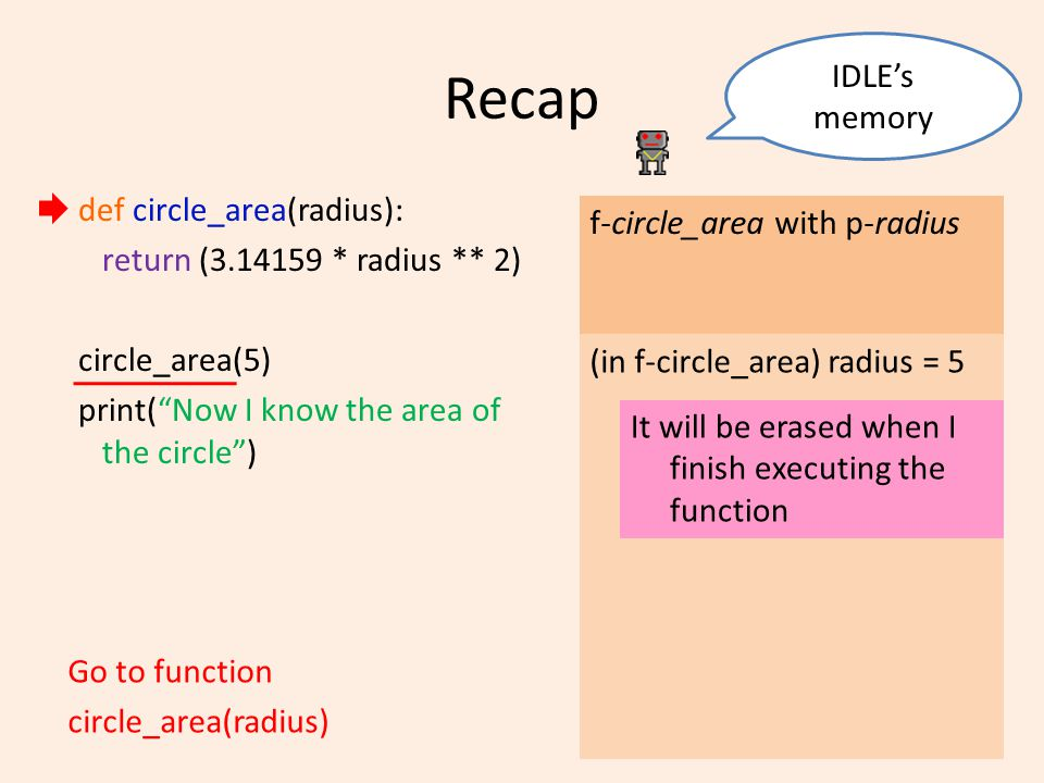 Recap def circle_area(radius): return (3.14159 * radius ** 2) circle_area(5) print( Now I know the area of the circle ) IDLE's memory Go to function circle_area(radius) f-circle_area with p-radius (in f-circle_area) radius = 5 It will be erased when I finish executing the function