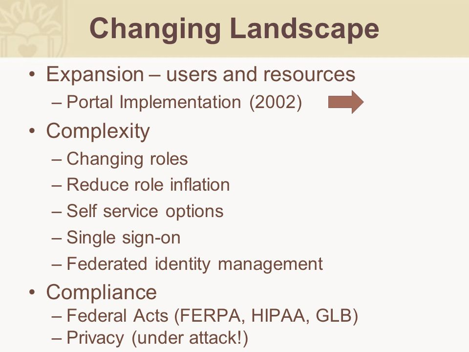 Changing Landscape Expansion – users and resources –Portal Implementation (2002) Complexity –Changing roles –Reduce role inflation –Self service optio