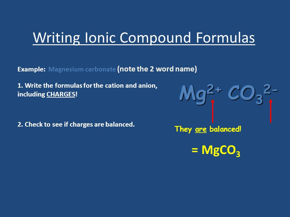 Writing Ionic Compound Formulas Example: Magnesium carbonate (note the 2 word name) 1. Write the formulas for the cation and anion, including CHARGES!