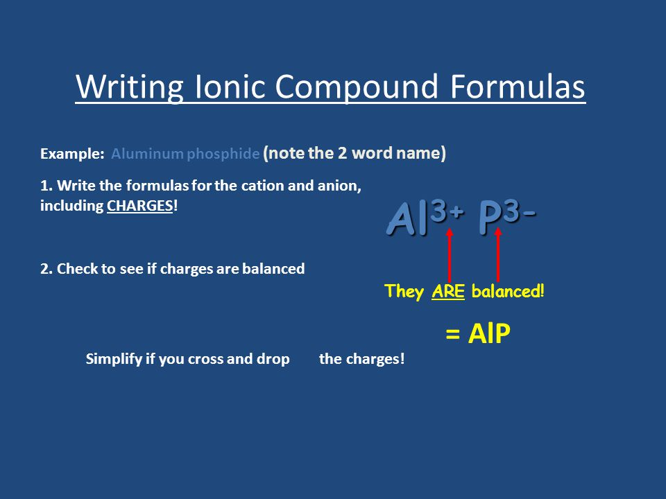 Writing Ionic Compound Formulas Example: Aluminum phosphide (note the 2 word name) 1.