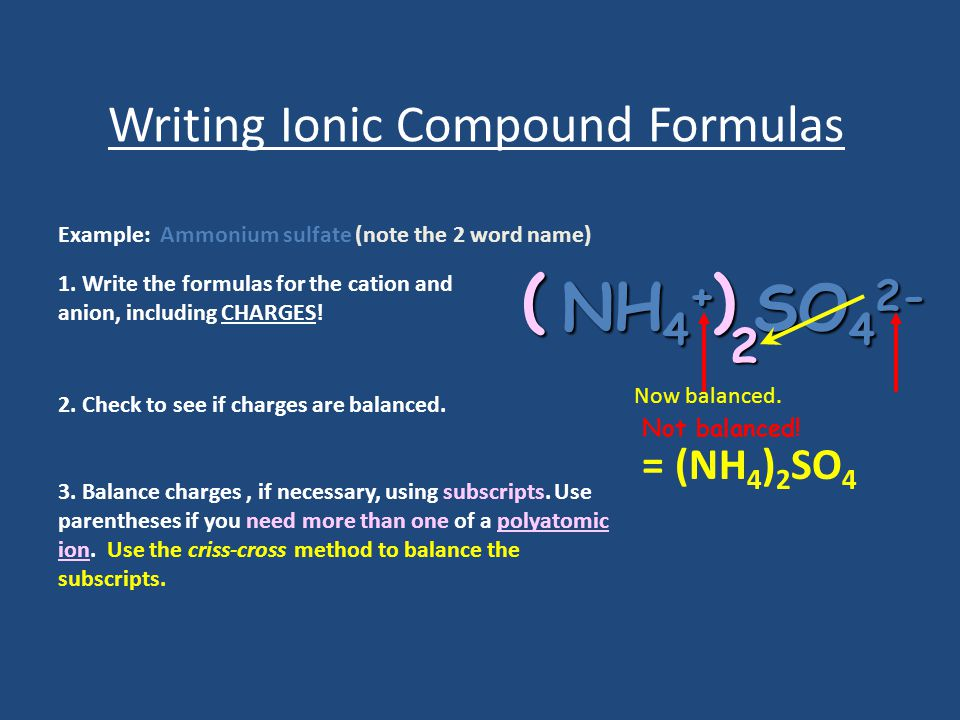 Writing Ionic Compound Formulas Example: Ammonium sulfate (note the 2 word name) 1.