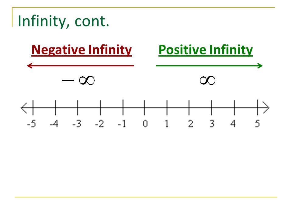 Infinity, cont. Negative InfinityPositive Infinity