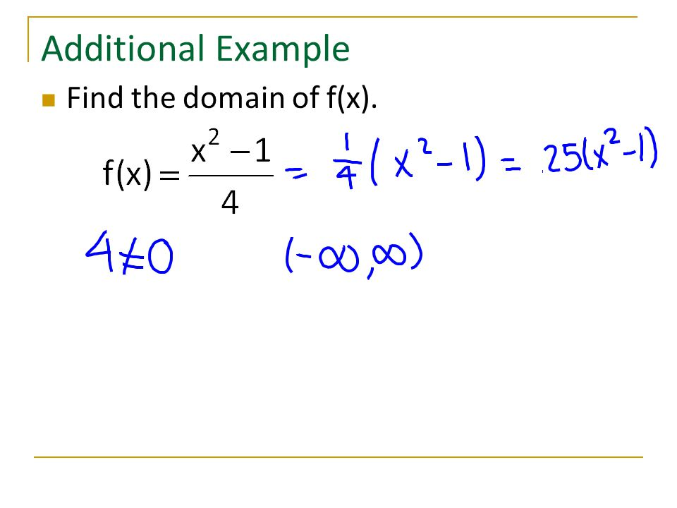 Additional Example Find the domain of f(x).