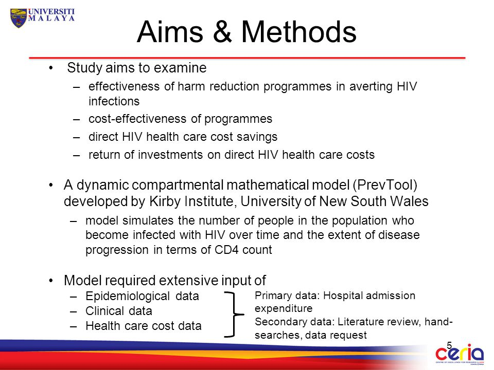 Aims & Methods Study aims to examine –effectiveness of harm reduction programmes in averting HIV infections –cost-effectiveness of programmes –direct