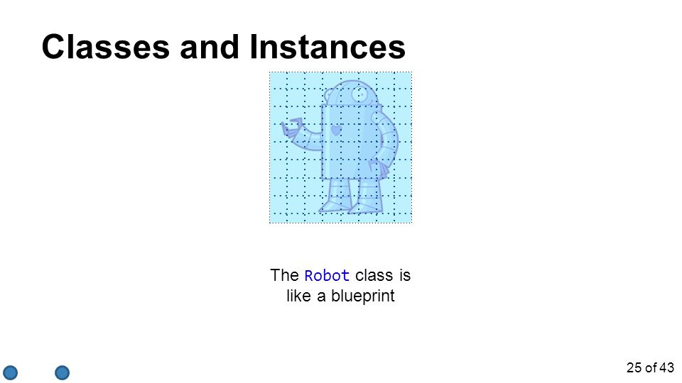 The Robot class is like a blueprint Classes and Instances 25 of 43