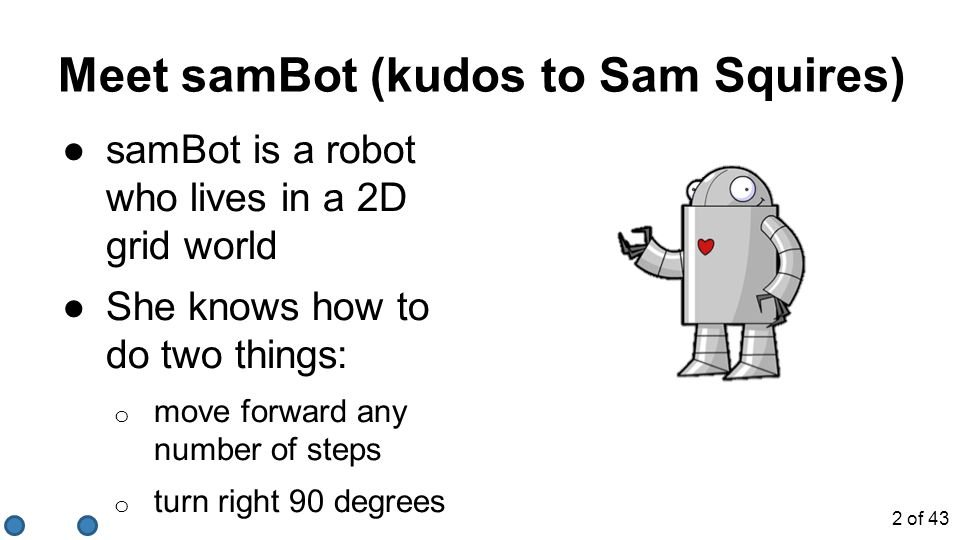 ●samBot is a robot who lives in a 2D grid world ●She knows how to do two things: o move forward any number of steps o turn right 90 degrees Meet samBo