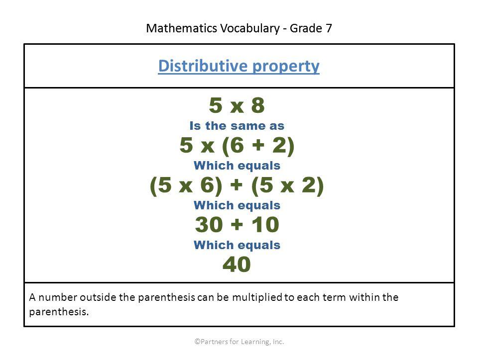 Mathematics Vocabulary - Grade 7 ©Partners for Learning, Inc.