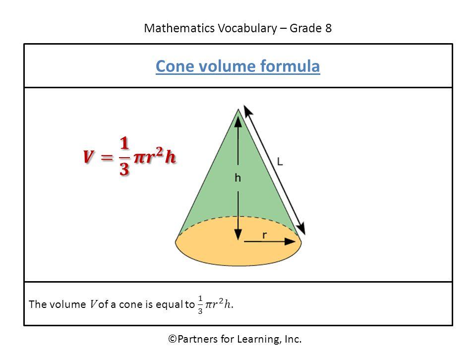 Mathematics Vocabulary – Grade 8 ©Partners for Learning, Inc. Cone volume formula