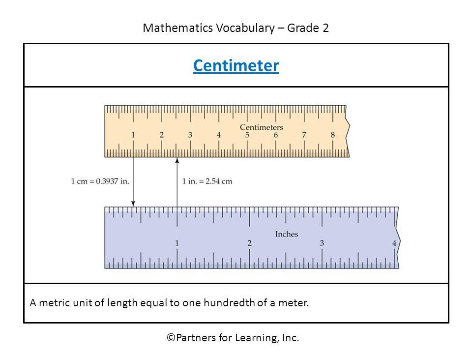 Mathematics Vocabulary – Grade 2 ©Partners for Learning, Inc.