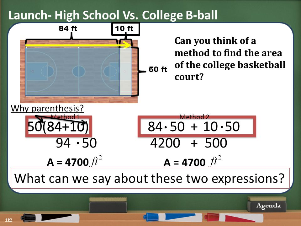 12 Agenda Can you think of a method to find the area of the college basketball court.