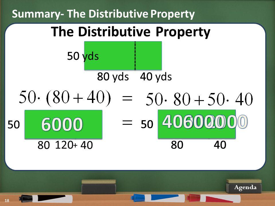 18 Agenda 50 8040 The Distributive Property 50 8040 50 120 + 50 80 40 50 80 40 50 Summary- The Distributive Property 50 yds 80 yds40 yds