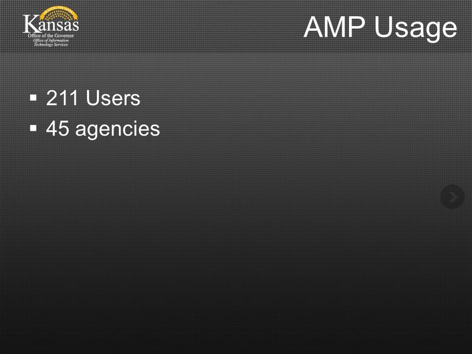 AMP Usage  211 Users  45 agencies