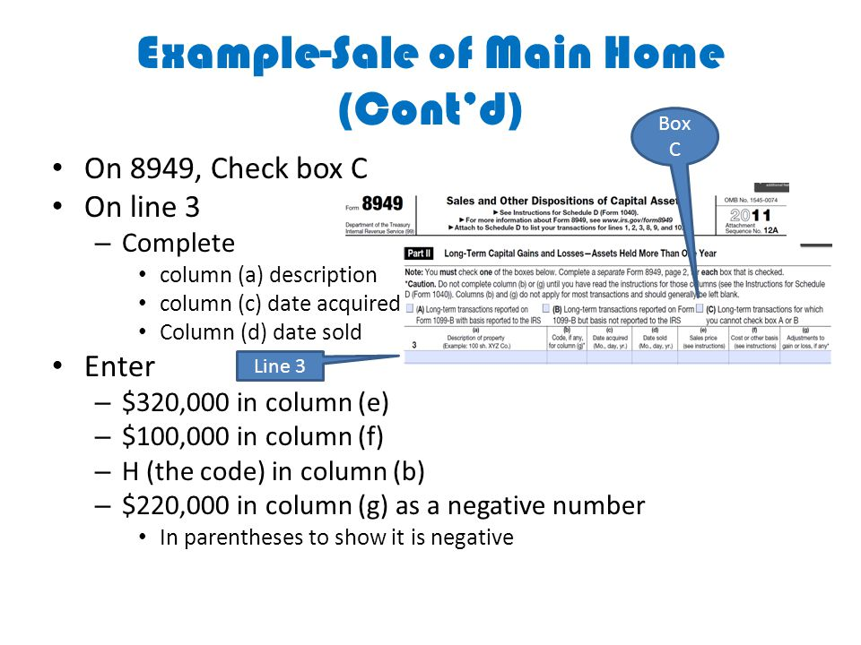 Example-Sale of Main Home (Cont'd) On 8949, Check box C On line 3 – Complete column (a) description column (c) date acquired Column (d) date sold Ente