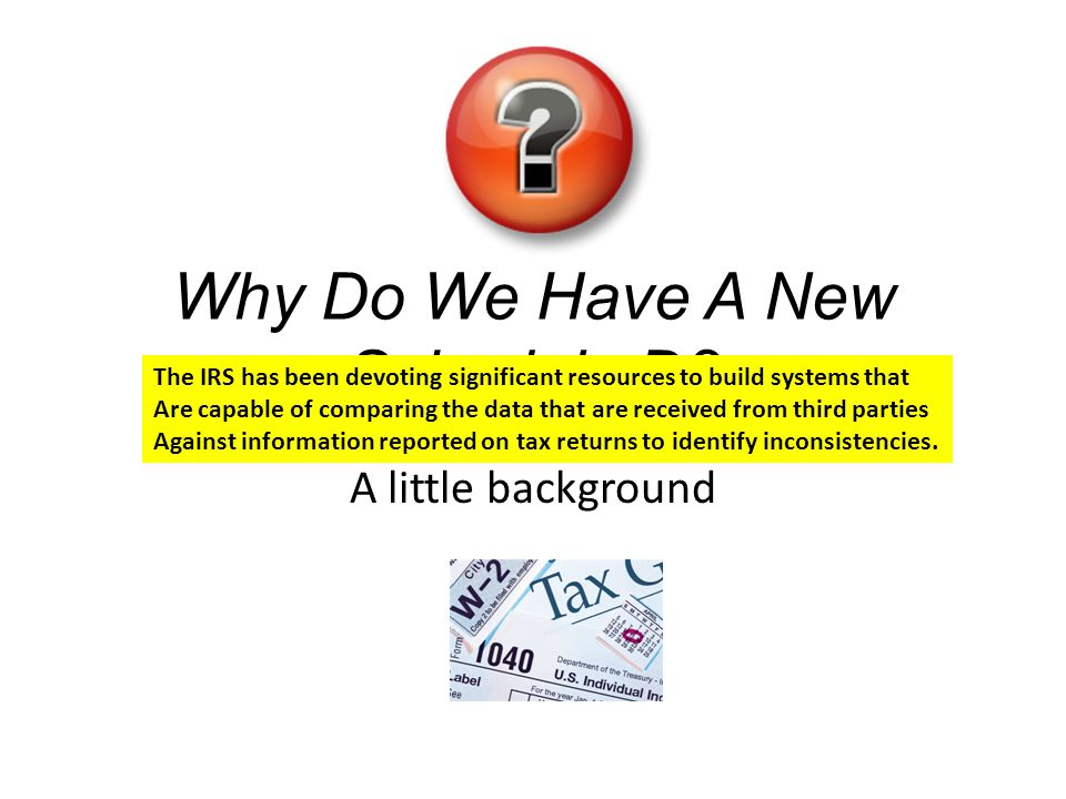 Why Do We Have A New Schedule D? A little background The IRS has been devoting significant resources to build systems that Are capable of comparing th