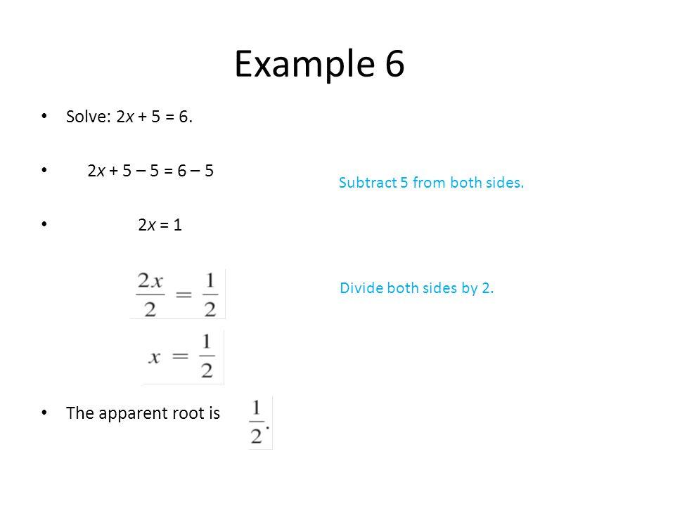 Solve: 2x + 5 = 6.