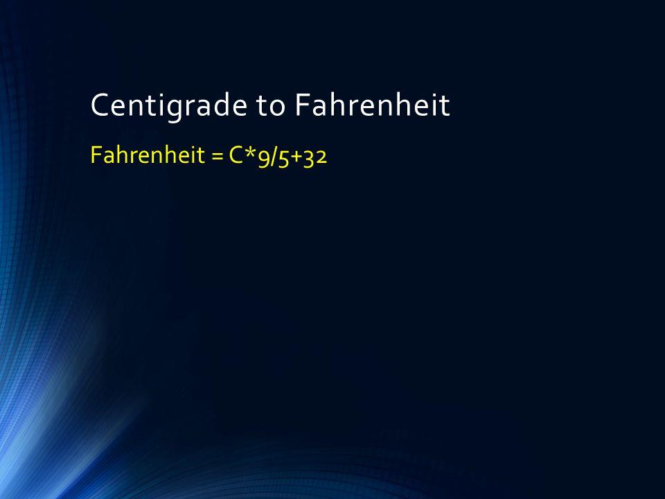 Centigrade to Fahrenheit Fahrenheit = C*9/5+32