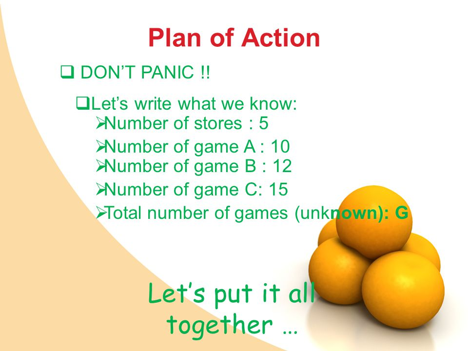 Plan of Action Let's put it all together …  DON'T PANIC !.