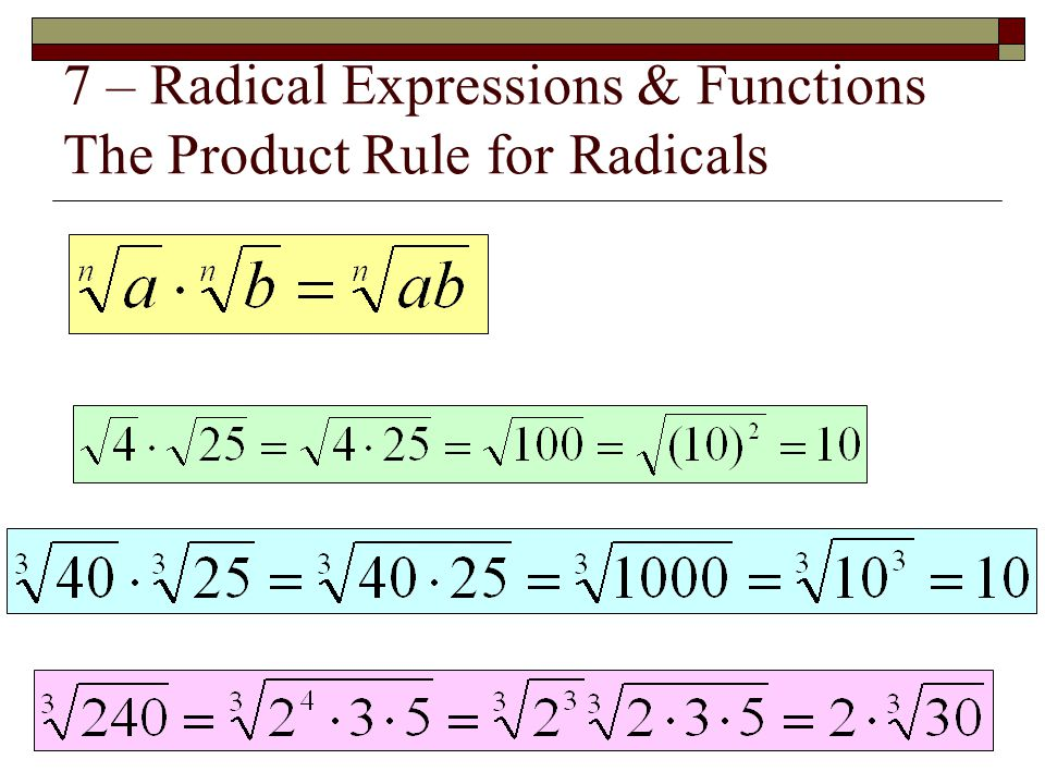 7 – Radical Expressions & Functions The Product Rule for Radicals