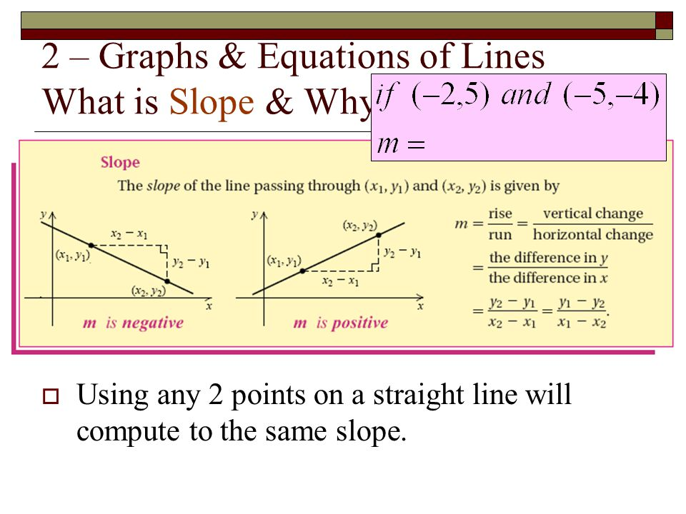 2 – Graphs & Equations of Lines What is Slope & Why is it Important?  Using any 2 points on a straight line will compute to the same slope.