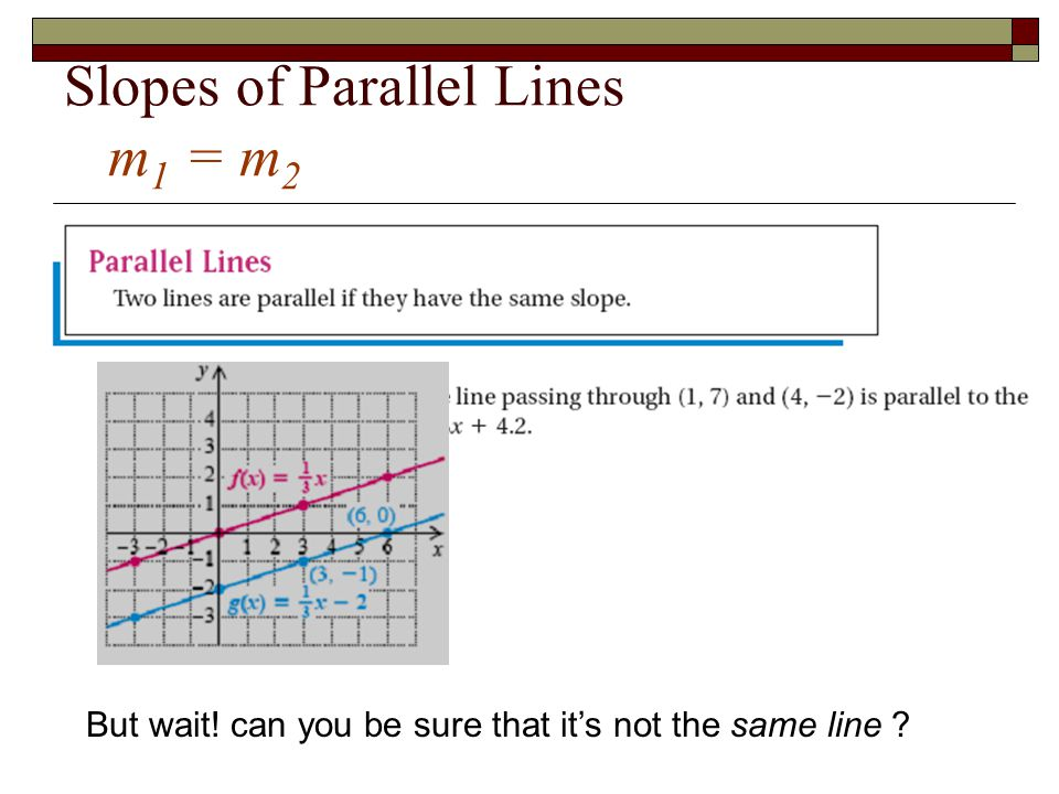 Slopes of Parallel Lines m 1 = m 2 But wait! can you be sure that it's not the same line ?