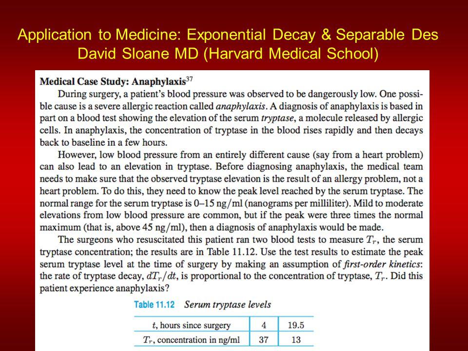 Application to Medicine: Exponential Decay & Separable Des David Sloane MD (Harvard Medical School)