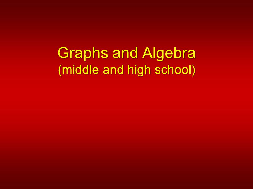 Graphs and Algebra (middle and high school)