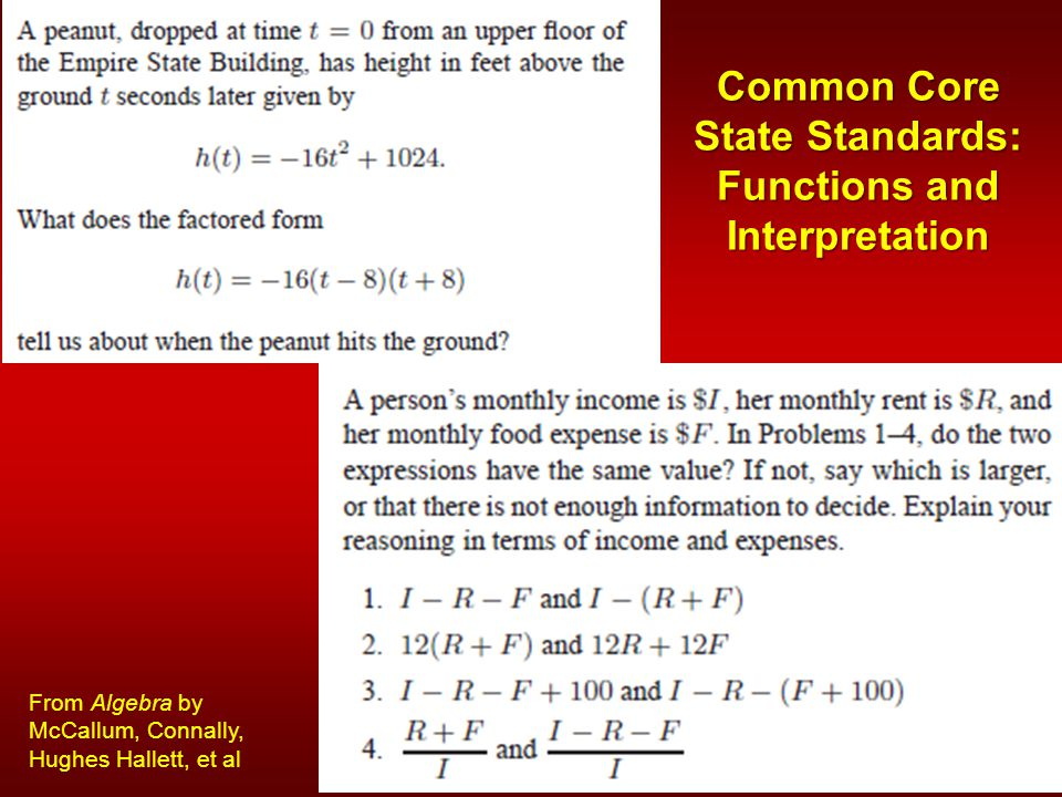 Common Core State Standards: Functions and Interpretation From Algebra by McCallum, Connally, Hughes Hallett, et al