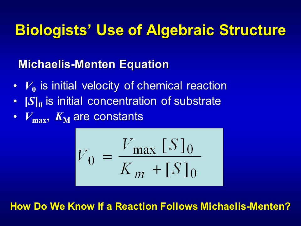 Biologists' Use of Algebraic Structure V 0 is initial velocity of chemical reactionV 0 is initial velocity of chemical reaction [S] 0 is initial concentration of substrate[S] 0 is initial concentration of substrate V max, K M are constantsV max, K M are constants Michaelis-Menten Equation How Do We Know If a Reaction Follows Michaelis-Menten?