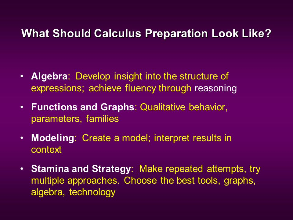 What Should Calculus Preparation Look Like.