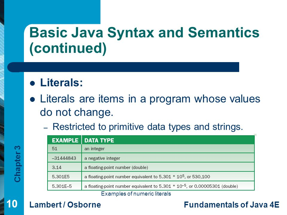 Chapter 3 Lambert / OsborneFundamentals of Java 4E 10 Basic Java Syntax and Semantics (continued) Literals: Literals are items in a program whose values do not change.