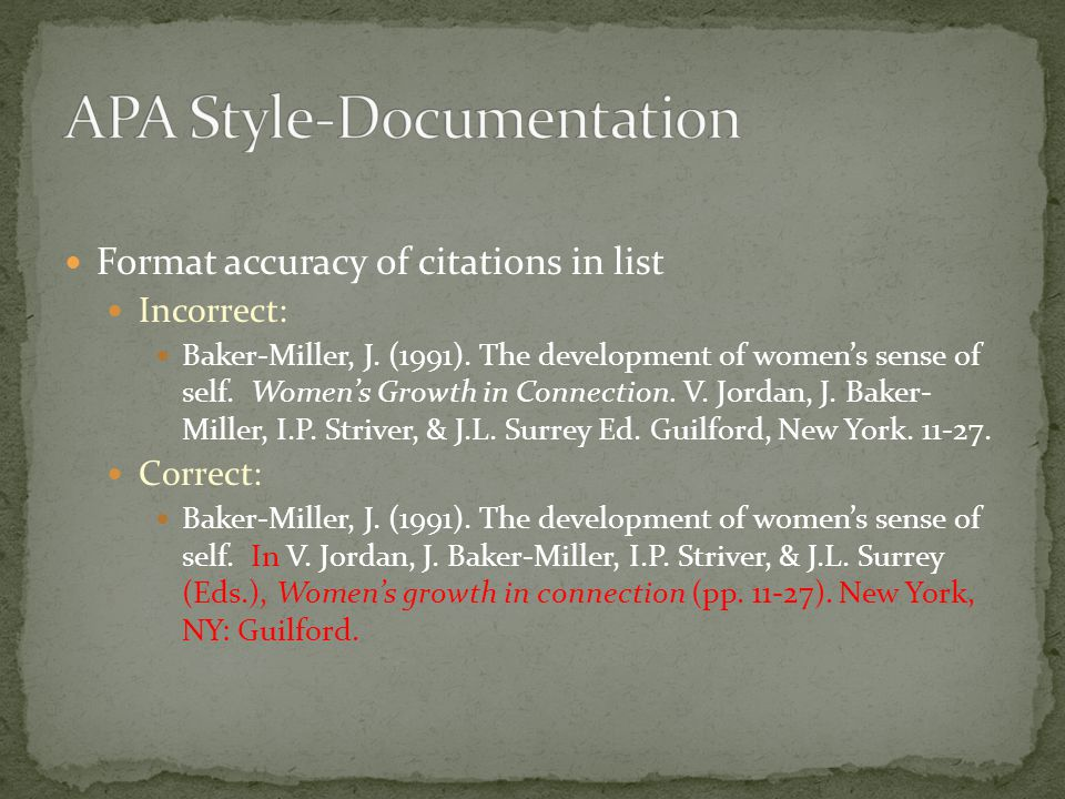 Format accuracy of citations in list Incorrect: Baker-Miller, J.