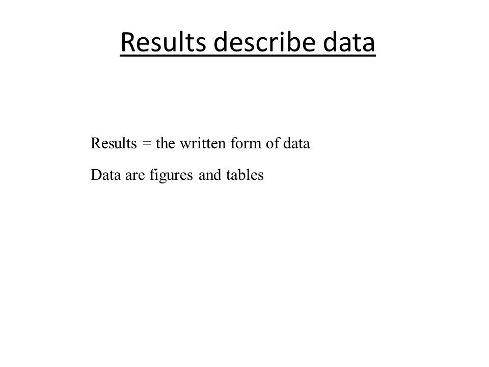 Results describe data Results = the written form of data Data are figures and tables