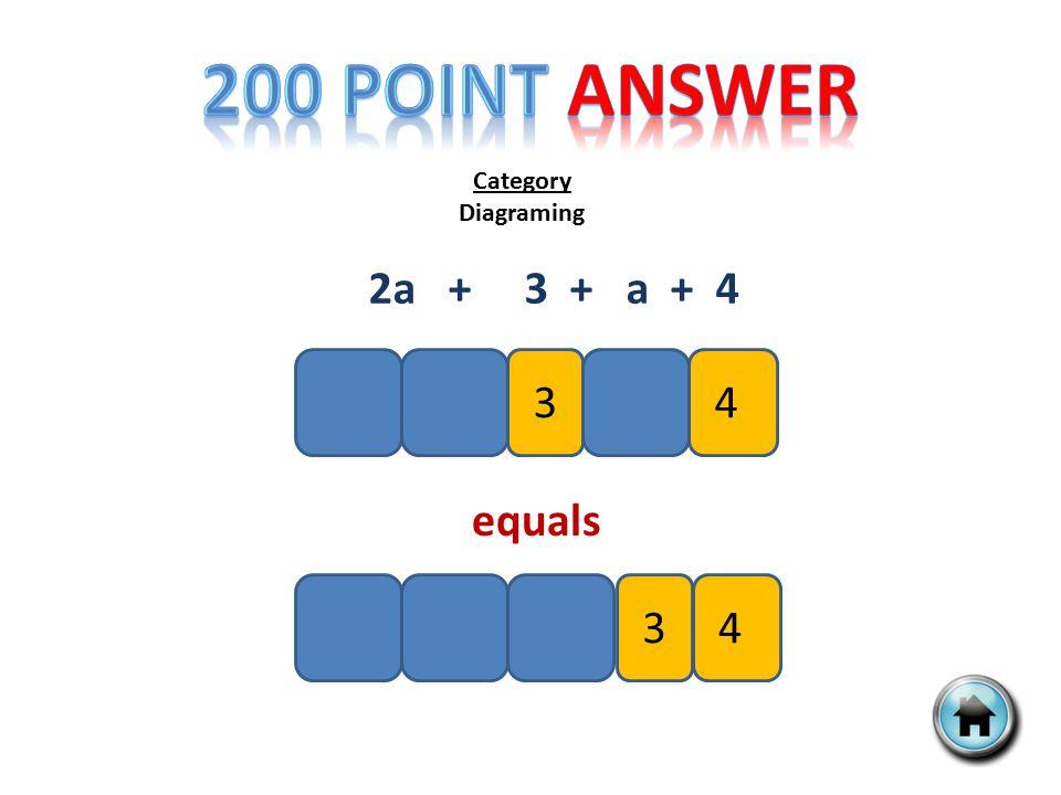 Category Diagraming 2a + 3 + a + 4 34 34 equals