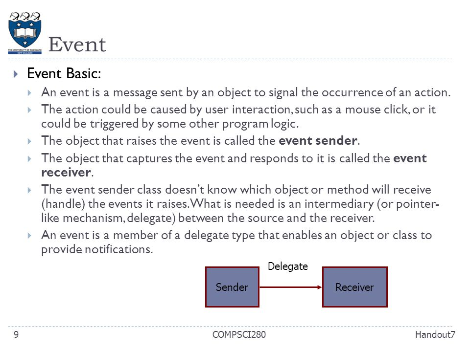 Event Handout7COMPSCI2809  Event Basic:  An event is a message sent by an object to signal the occurrence of an action.